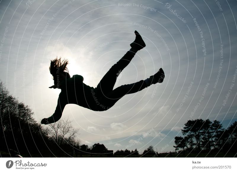 Human being Sky Youth (Young adults) Blue White Tree Joy Black Young woman Life Movement Freedom Jump Healthy Air Body