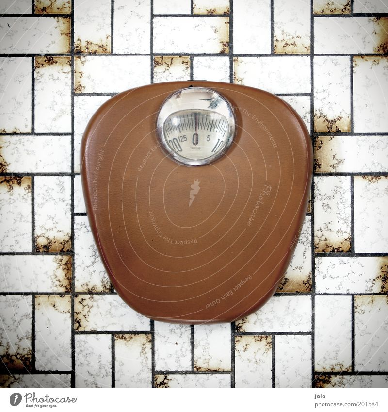 model diet Overweight Scale Tile Retro Brown White Weight Analog Mechanical Deserted bathroom scales Colour photo Subdued colour Interior shot Day