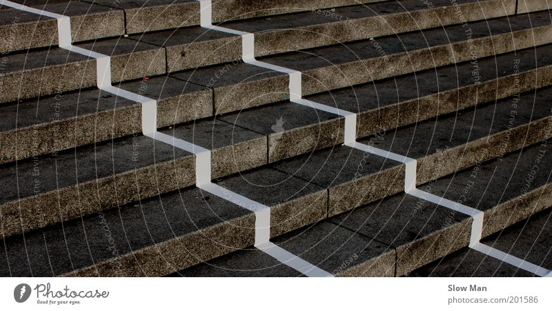 Dark Gray Lanes & trails Stone Line Dirty Concrete Stairs Perspective Upward Parallel Edge Symmetry Geometry Share Downward