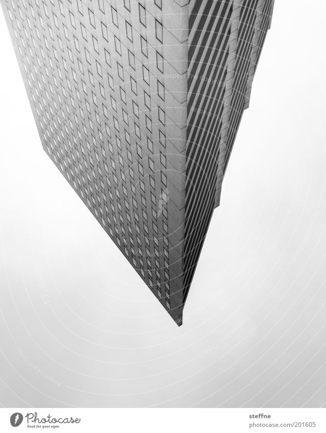stalactite High-rise Bank building Point Triangle Black & white photo Exterior shot Experimental Pattern Structures and shapes Facade Modern architecture