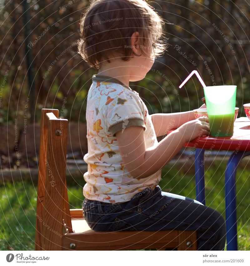 Human being Child Girl Calm Wood Small Garden Eating Contentment Infancy Leisure and hobbies Sit Table Beverage Cute Retro