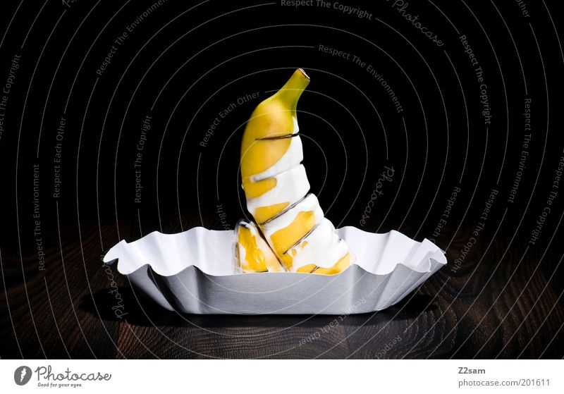 nasty Yoghurt Fruit Nutrition Fast food Design Healthy Life Paper Stand Esthetic Dark Disgust Elegant Delicious Trashy Yellow Black Bizarre Banana Colour photo