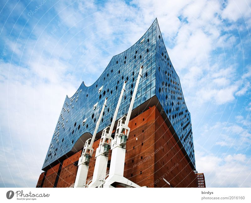 Sky Blue White Red Clouds Joy Architecture Design Modern Esthetic Success Culture Large Tall Beautiful weather Hamburg