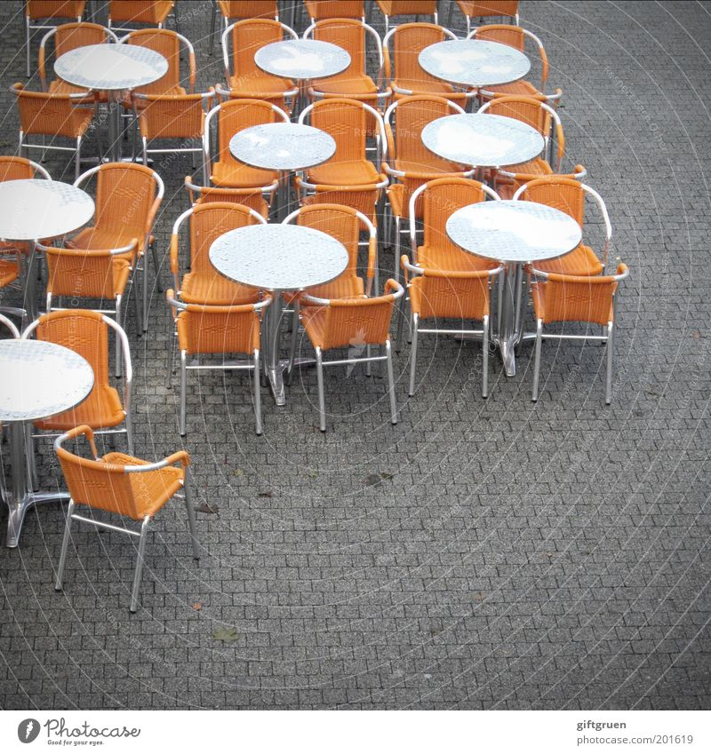 table order Vacation & Travel Tourism Trip City trip Restaurant Café Sidewalk café Services Gastronomy Table Chair Orange Round Classification Arrangement Empty