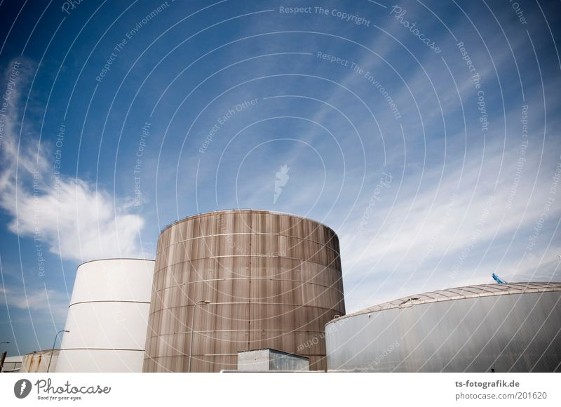 Sky Clouds Gray Brown Facade Energy industry Future Round Industrial Photography Harbour Beautiful weather Oil Industrial plant Crisis Tank