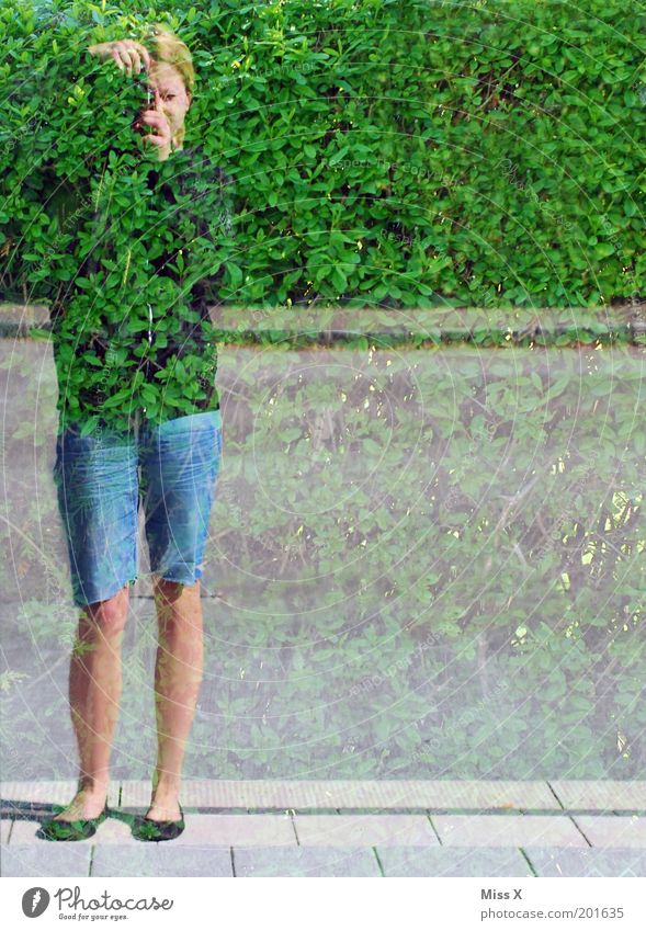 Human being Youth (Young adults) Experimental Adults Bushes Leisure and hobbies Camera Mirror Reflection Multicoloured Hide Take a photo Mirror image