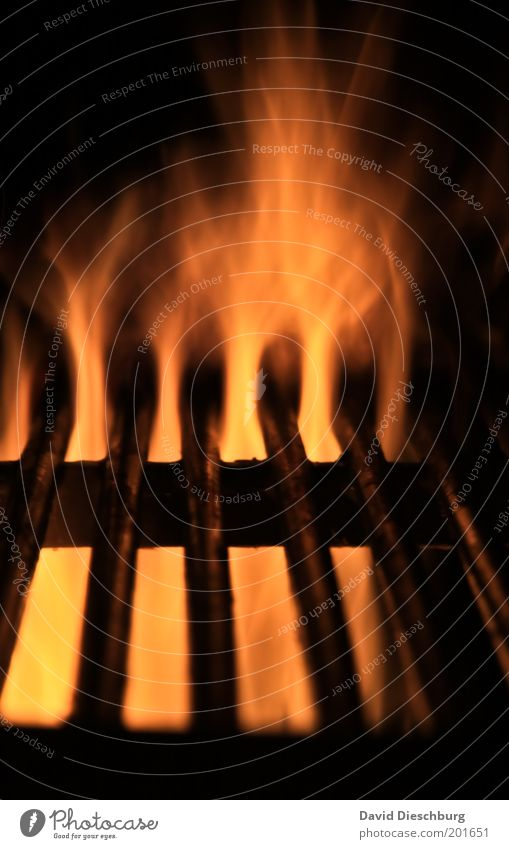 Honey... will you get the steaks... Yellow Red Black Barbecue (apparatus) Barbecue (event) Grill Hot Flame Fire Embers BBQ season Colour photo Exterior shot