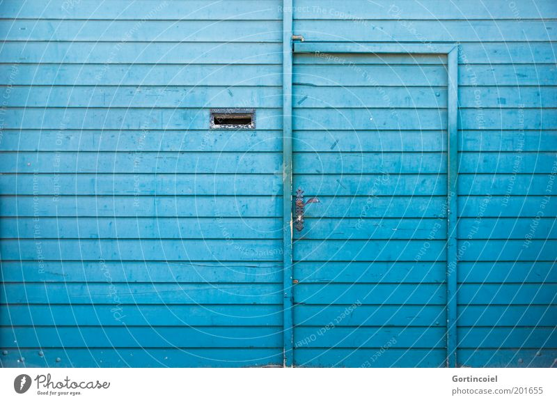 aquamarine Gate Facade Door Mailbox Blue Colour Entrance Front door Main gate Door handle Wooden board Turquoise Wooden wall Across Colour photo Multicoloured
