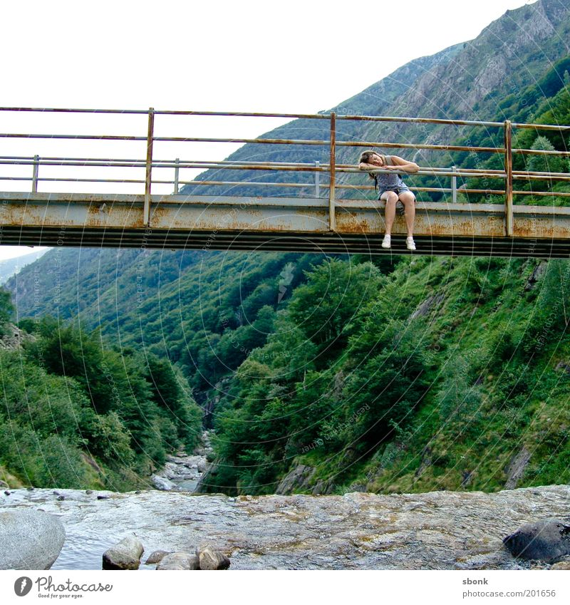 Long story Human being Girl Young woman Youth (Young adults) Life 1 18 - 30 years Adults Nature Landscape Water Tree Forest Hill Alps Mountain Bridge