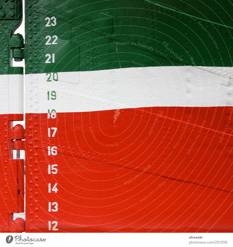 water level report Navigation Cruise Sailboat Watercraft Oar Rivet Metal Green Red White Steering Digits and numbers Line Hinge Flag Italy Colour photo