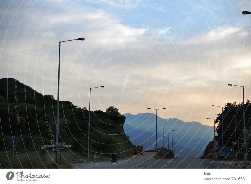Sky Summer Clouds Street Mountain Landscape Large Free Horizon Hope Longing Natural Past Beautiful weather Motorcycle Street lighting