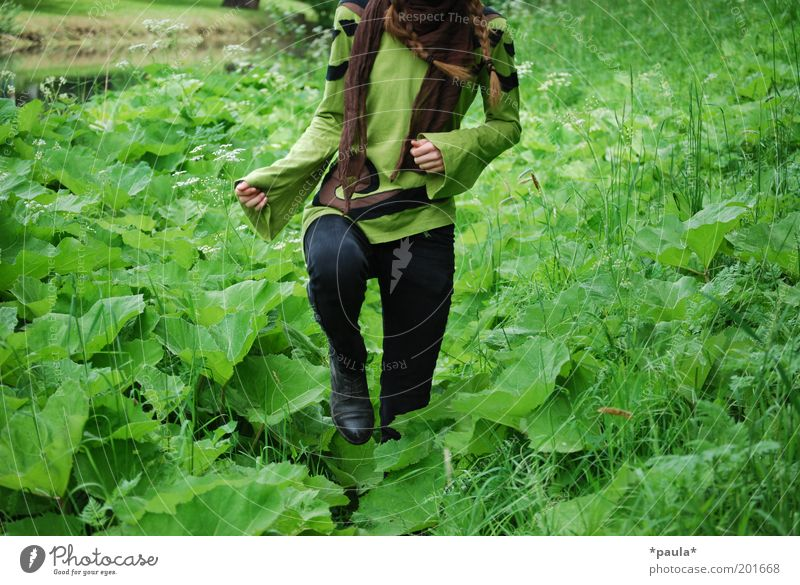 Human being Nature Youth (Young adults) Green Plant Leaf Feminine Life Environment Grass Movement Legs Brown Arm Going Natural