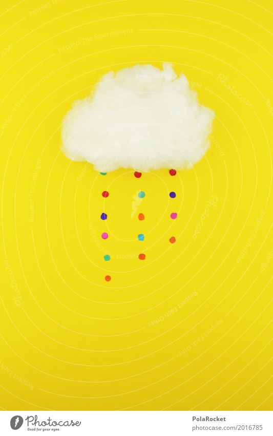 #S# Confetti rain straight Weather Rain Happy Yellow Point Multicoloured Clouds Absorbent cotton Storm Creativity Colour photo Deserted Artificial light