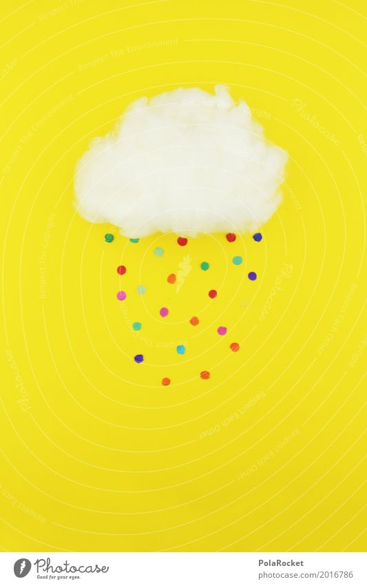 #S# Confetti rain Weather Happy Clouds Yellow Multicoloured Point Rain Absorbent cotton Storm Colour photo Deserted Artificial light Central perspective