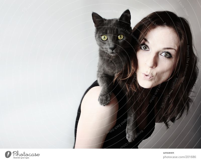 Have a Break Human being Feminine Woman Adults 1 Animal Pet Cat Looking Carrying Love of animals Posture Colour photo Subdued colour Interior shot
