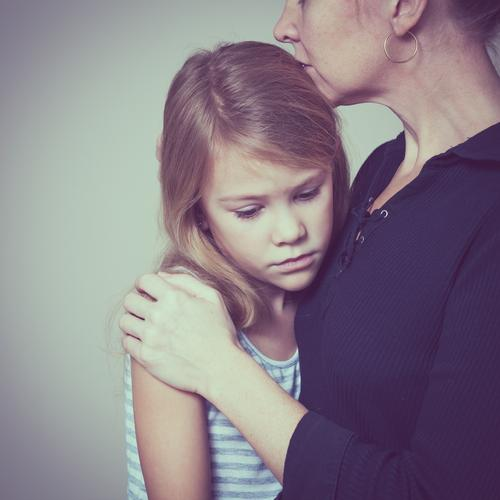 sad daughter hugging his mother at home Lifestyle Face Child Human being Girl Woman Adults Parents Mother Family & Relations Infancy Think Love Sadness Embrace