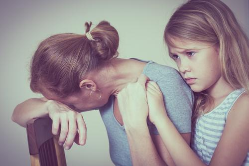sad daughter hugging his mother at home Human being Child Woman Girl Face Adults Lifestyle Sadness Love Emotions Family & Relations Small Think Infancy Cute