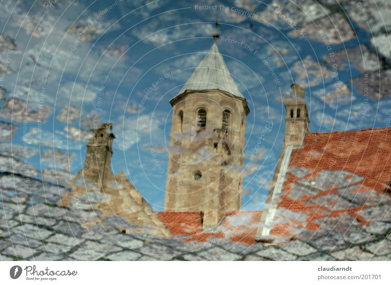 puddle of castle square House (Residential Structure) Braunschweig Germany Town Downtown Old town Deserted Church Places Tower Manmade structures Building