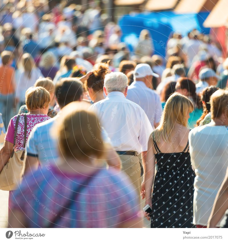 Crowd of people walking on the busy city street Lifestyle Shopping Vacation & Travel City trip Work and employment Business Human being Woman Adults Man