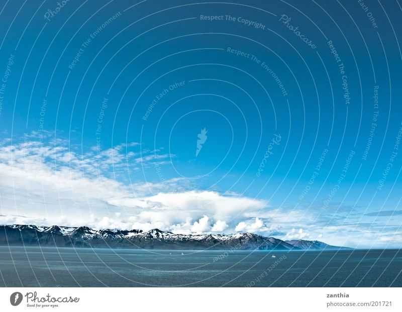 Water White Ocean Blue Vacation & Travel Calm Clouds Far-off places Cold Snow Mountain Landscape Coast Horizon Climate Infinity