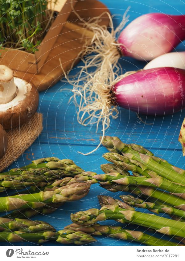 Green asparagus with ingredients Food Vegetable Nutrition Organic produce Vegetarian diet Delicious Healthy agriculture Asparagus color cress flower fresh