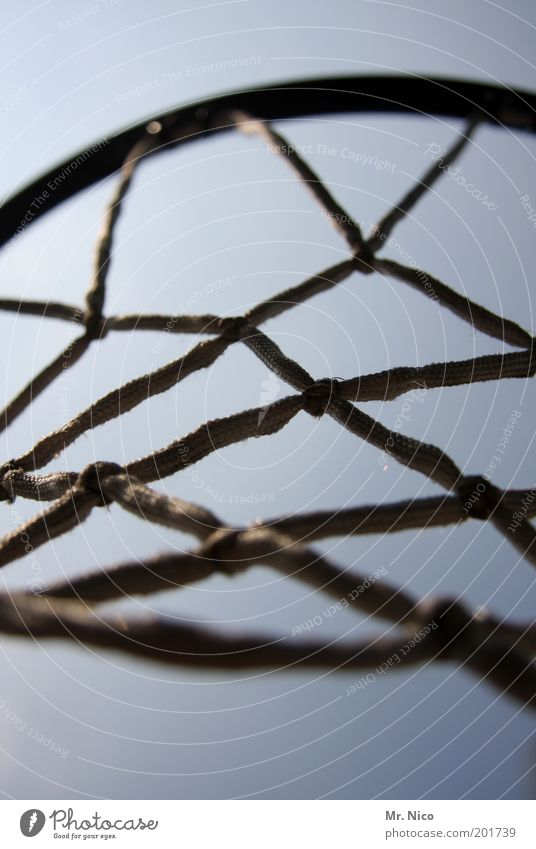 Let´ s play ! Leisure and hobbies Sports Ball sports Hang Basketball Basketball basket Net streetball Deserted Close-up Detail Loop Reticular Network Interlaced