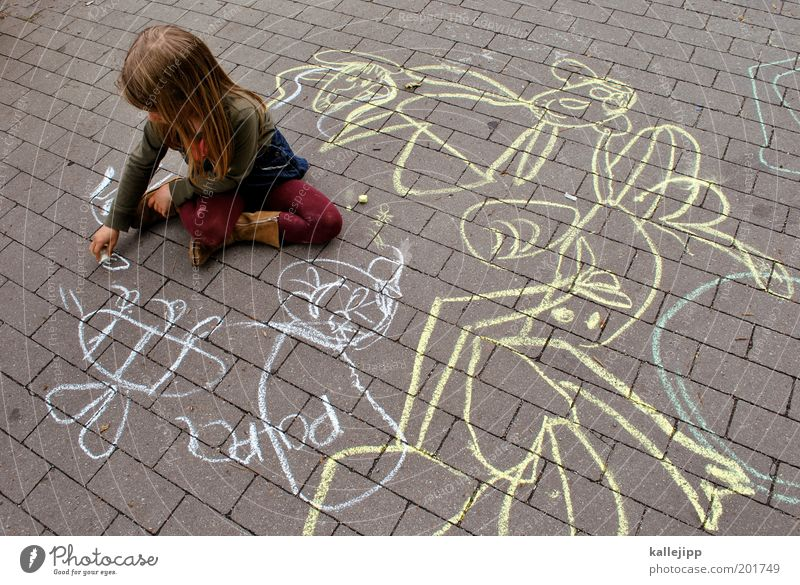 Human being Child Girl Street Life Playing Lanes & trails Dream Art Infancy Sit Education Idyll Creativity Idea Bee