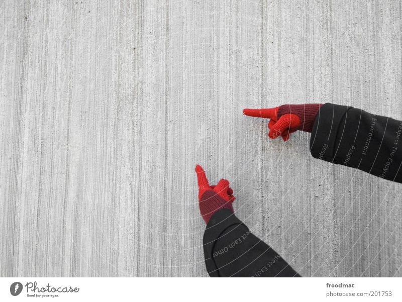 Human being Hand Red Cold Wall (building) Gray Wall (barrier) Facade Concrete Fingers Communicate Simple Advertising Indicate Young woman Clue