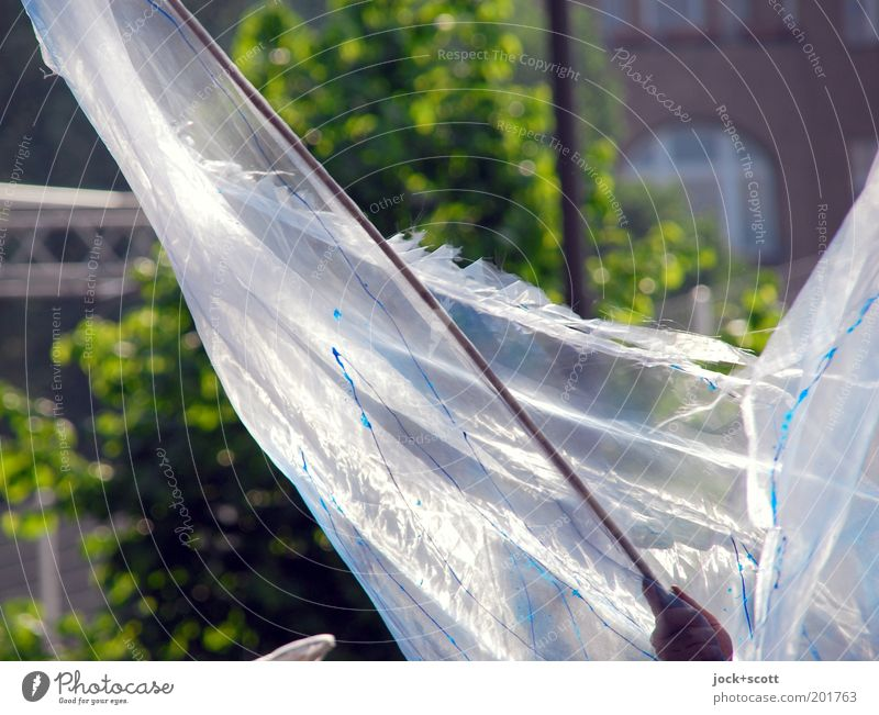 swinging round Human being White Summer Hand Movement Freedom Facade Joie de vivre (Vitality) To hold on Cloth Thin Flag Transparent Rotate Diagonal Blow
