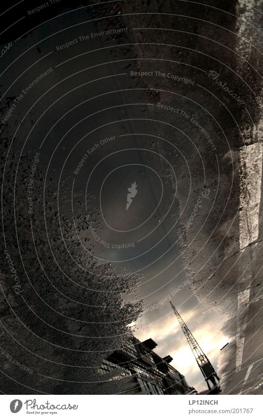 Water Dark Dream Industry Light Bizarre Surrealism Crane Puddle Mirror image Machinery Style Dream world Time machine