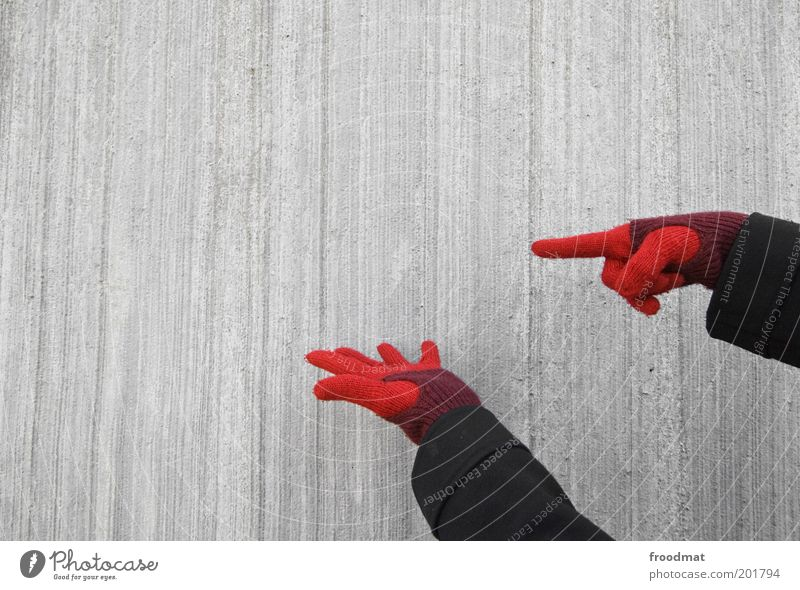Hand Red Cold Wall (building) Gray Wall (barrier) Concrete Facade Communicate Simple Advertising Trade Gloves Indicate Protection Presentation