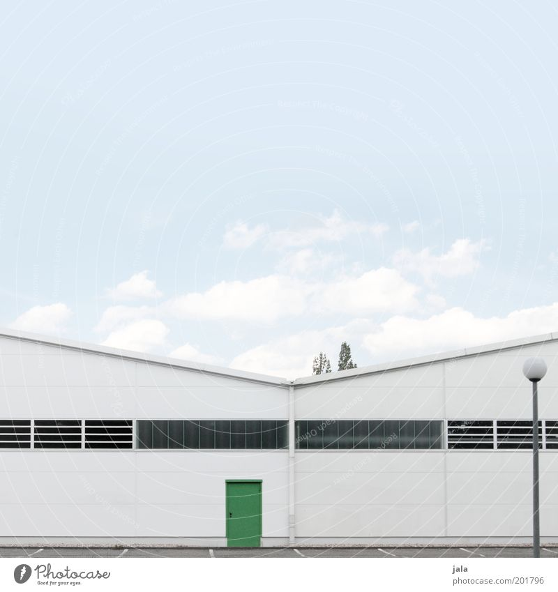 Sky White Green Blue Building Door Industry Industrial Photography Factory Lantern Manmade structures Warehouse Industrial plant Storage Emergency exit