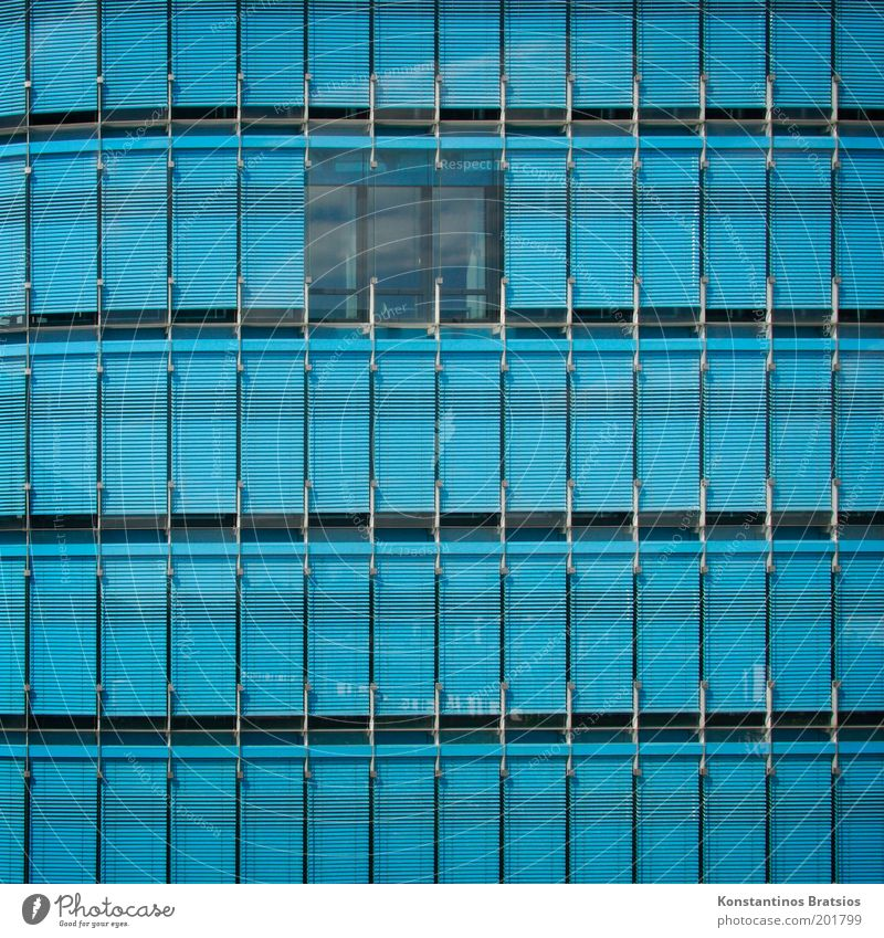 blue in Q House (Residential Structure) Manmade structures Building Facade Glas facade Window Blue Colour Modern Line Square Frontal Office building