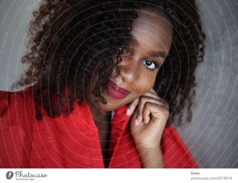 Human being Woman Beautiful Red Adults Life Wall (building) Feminine Wall (barrier) Happy Hair and hairstyles Contentment Smiling Wait Joie de vivre (Vitality)
