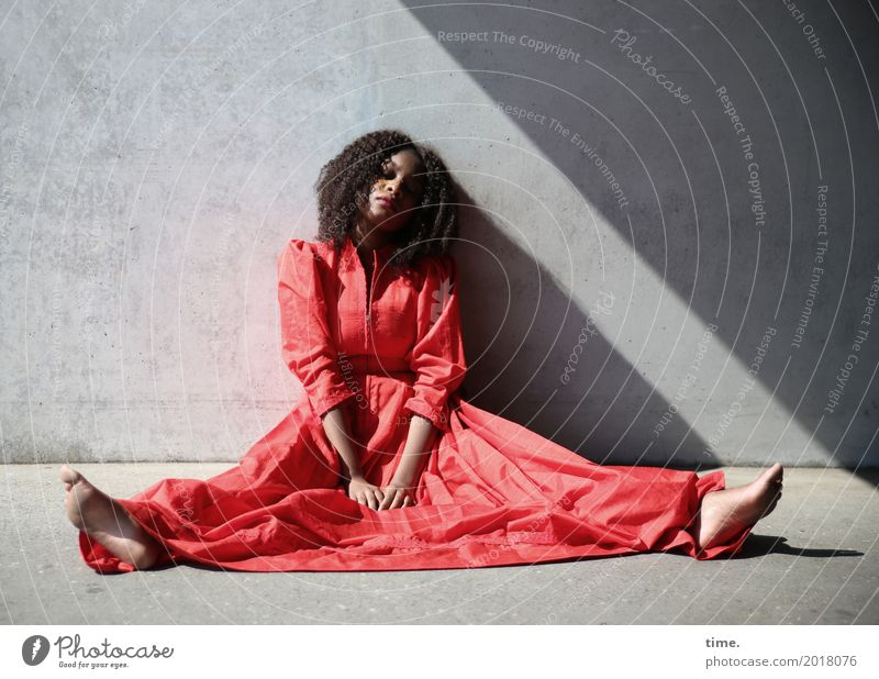 Human being Woman Beautiful Red Relaxation Adults Wall (building) Lanes & trails Feminine Wall (barrier) Hair and hairstyles Time Contentment Sit Wait Observe