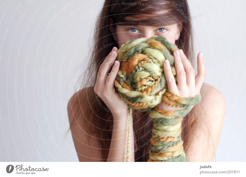 wool, wool... Human being Feminine Young woman Youth (Young adults) Woman Adults Eyes Hand 1 18 - 30 years Esthetic Wool Ball of wool Impish Emotions Green
