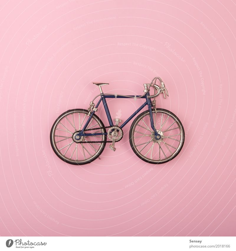 Sport concept - toy bicycles on pink background Summer Colour White Yellow Sports Style Group Above Design Pink Bright Decoration Creativity Fitness Toys
