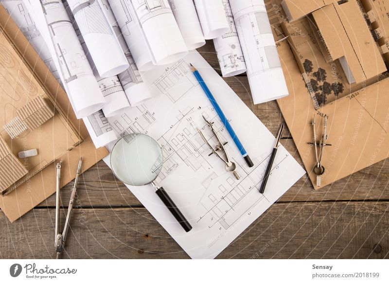Workplace of architect - construction drawings White House (Residential Structure) Architecture Wood Business Design Flat (apartment) Office Technology Table Idea Paper Industry Illustration Planning Tracks