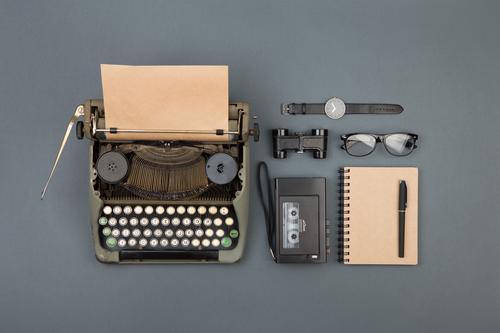 Journalist and writer desktop Tea Desk Table Workplace Office Newspaper Magazine Book Paper Binoculars Old Observe Write Retro Black Typewriter vintage Clerk