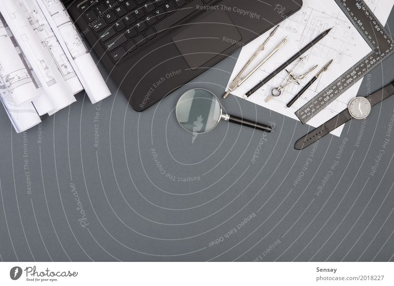 Workplace of architect - construction drawings and tools White House (Residential Structure) Architecture Wood Business Design Flat (apartment) Office Technology Table Computer Idea Paper Industry Planning Document