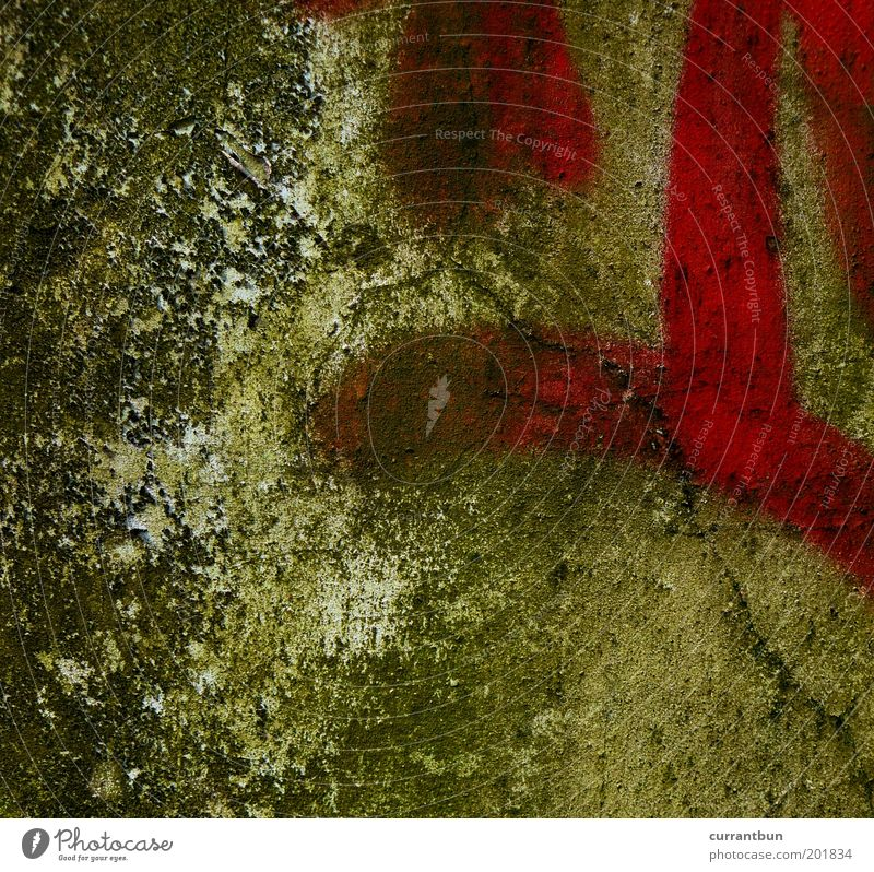 Green Red Calm Wall (building) Wall (barrier) Graffiti Esthetic Derelict Decline Crack & Rip & Tear Abstract Experimental Pattern Vandalism Daub Smeared