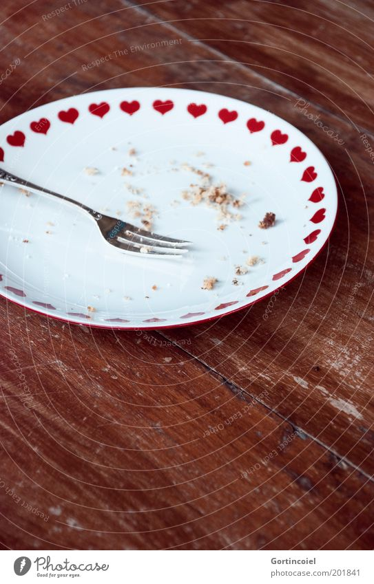 One more thing Food Cake Dessert Candy To have a coffee Crockery Plate Cutlery Fork Wood Delicious Pastry fork Heart Crumbs Coffee break Eaten Wooden table Café