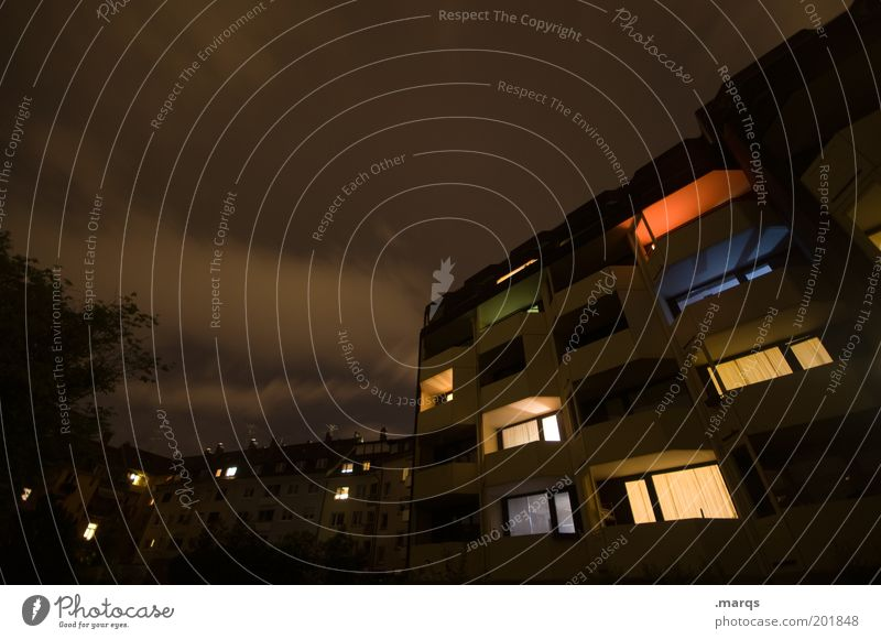 House (Residential Structure) Dark Building Lamp Brown Flat (apartment) Facade Car Window Living or residing Uniqueness Illuminate Balcony Safety (feeling of) Night sky Night life