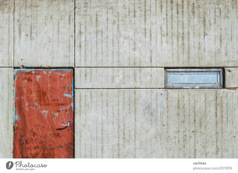 I see a red door and I want to paint it black Wall (barrier) Wall (building) Door Window Old Dirty Sharp-edged Hideous Broken Gloomy Gray Red Decline Transience