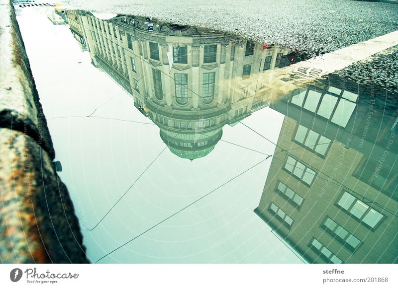 City Street Bank building Downtown Norway Puddle Mirror image Capital city Curbside Old town Scandinavia Experimental Dream house Oslo