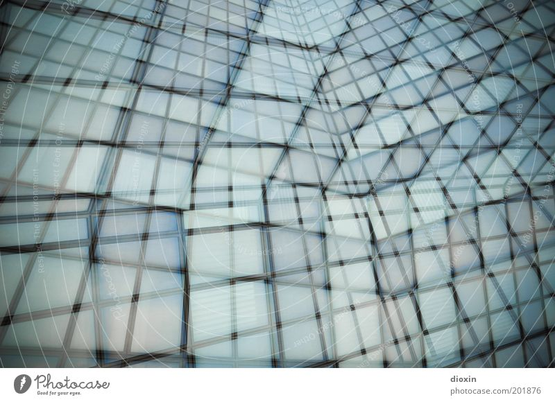 Blue House (Residential Structure) Black Cold Window Gray Building Architecture High-rise Tall Facade Abstract Smoothness Double exposure Grid