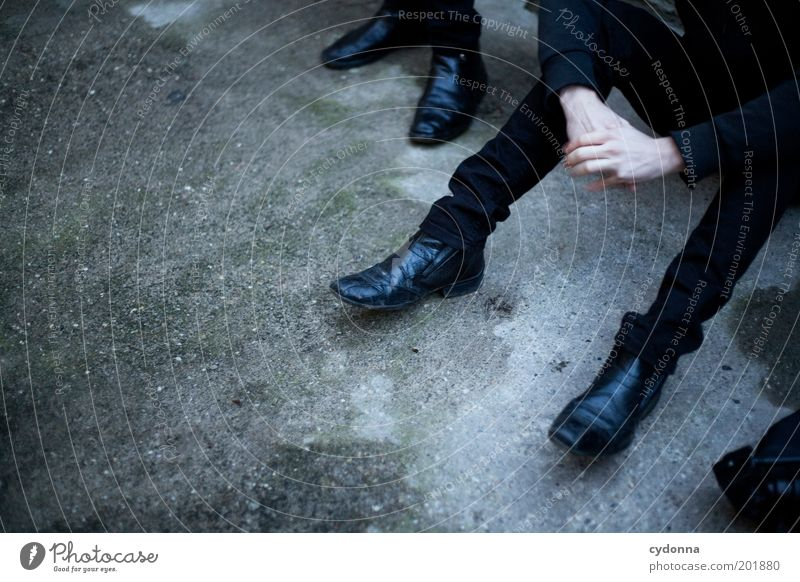 [HAL] Wait. Style Human being Man Adults Hand Serene Boredom Break Stagnating Time Nerviness Group Leather shoes Concrete floor Black Impatience Sit Think Calm