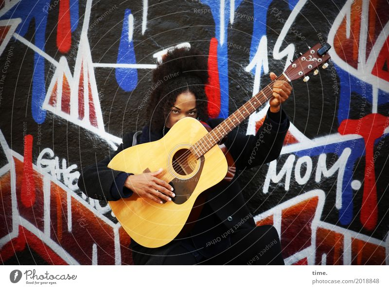 Music | Ghetto Mom (II) Feminine Woman Adults 1 Human being Artist Musician Guitar Wall (barrier) Wall (building) Coat Hair and hairstyles Black-haired Curl