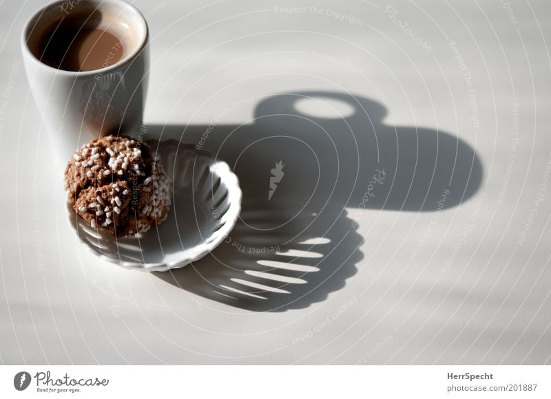 Breakfast shade Candy Cookie Coulored sugar candy Coffee Bowl Cup Porcelain Brown White Colour photo Subdued colour Interior shot Close-up Detail
