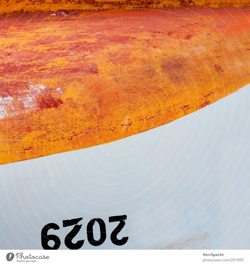 Old White Watercraft Orange Broken Digits and numbers Plastic Section of image Rowboat Opposite Scratch mark Dinghy Motorboat Abrasion Ship's side